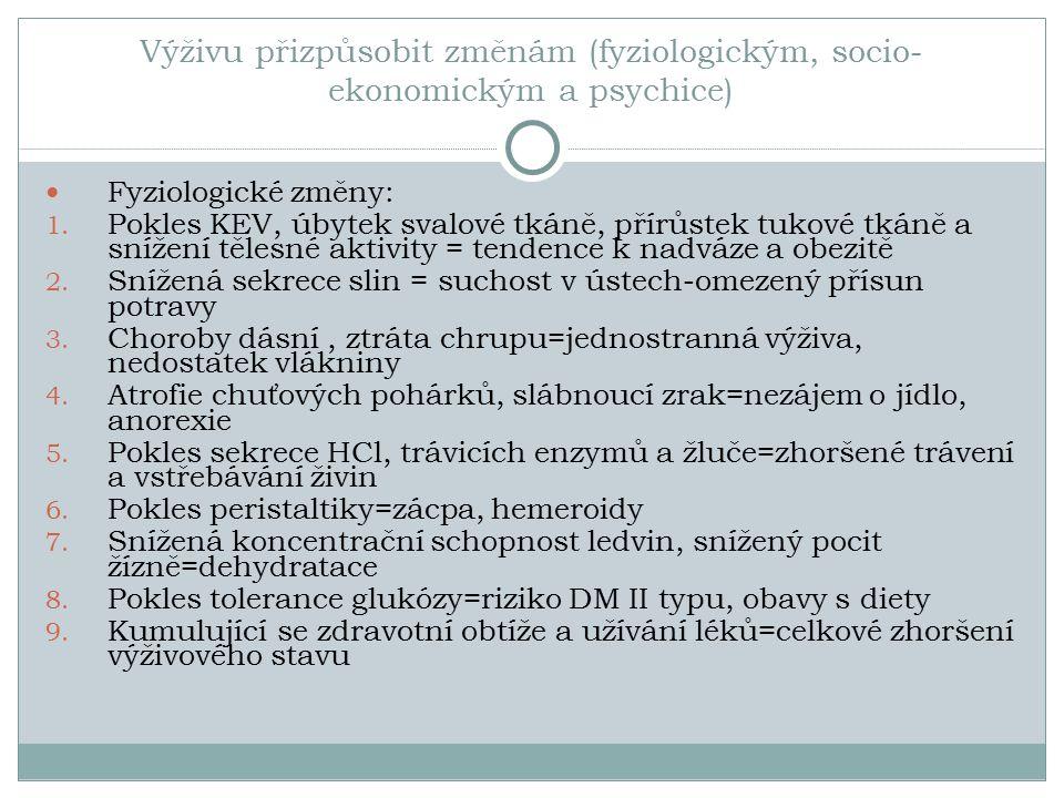 Výživu přizpůsobit změnám (fyziologickým, socio- ekonomickým a psychice) Fyziologické změny: 1.