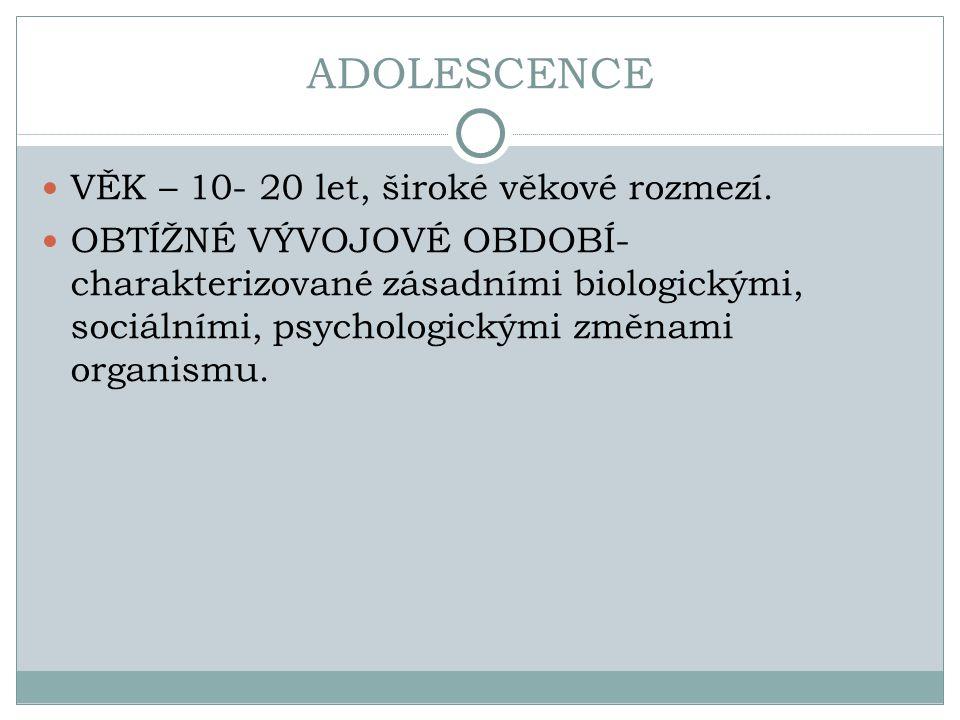 ADOLESCENCE VĚK – 10- 20 let, široké věkové rozmezí.