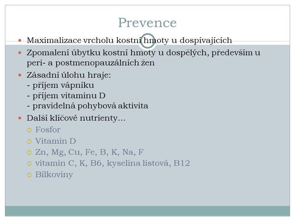 Prevence Maximalizace vrcholu kostní hmoty u dospívajících Zpomalení úbytku kostní hmoty u dospělých, především u peri- a postmenopauzálních žen Zásadní úlohu hraje: - příjem vápníku - příjem vitaminu D - pravidelná pohybová aktivita Další klíčové nutrienty...
