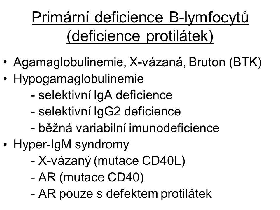 Primární deficience B-lymfocytů (deficience protilátek) Agamaglobulinemie, X-vázaná, Bruton (BTK) Hypogamaglobulinemie - selektivní IgA deficience - s