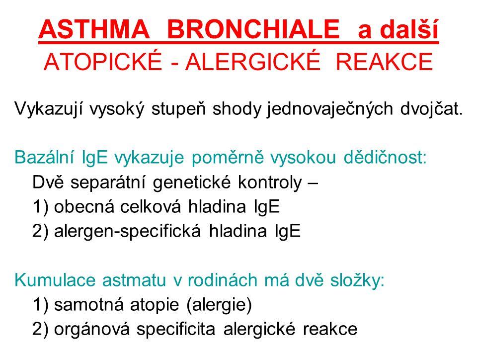 ASTHMA BRONCHIALE a další ATOPICKÉ - ALERGICKÉ REAKCE Vykazují vysoký stupeň shody jednovaječných dvojčat. Bazální IgE vykazuje poměrně vysokou dědičn
