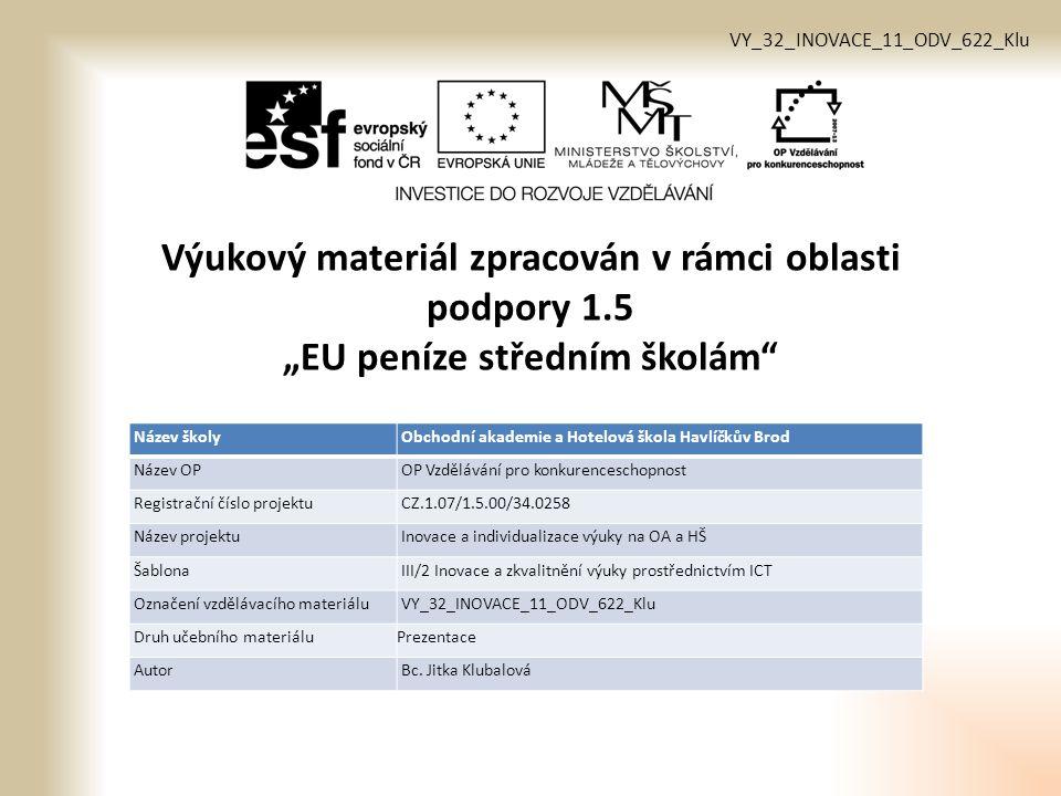 Vzdělávací obor, pro který je materiál určen Cukrář 29-54-H/01 Předmět Odborný výcvik Ročník 1.