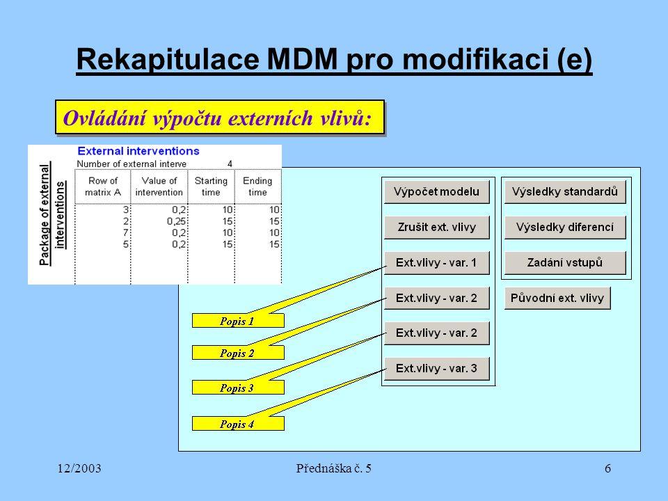 12/2003Přednáška č. 56 Rekapitulace MDM pro modifikaci (e) Ovládání výpočtu externích vlivů: