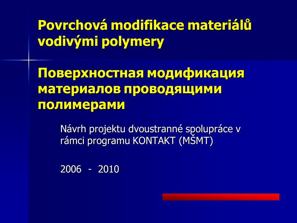Povrchová modifikace materiálů vodivými polymery Поверхностная модификация материалов проводящими полимерами Návrh projektu dvoustranné spolupráce v rámci programu KONTAKT (MŠMT) 2006 - 2010