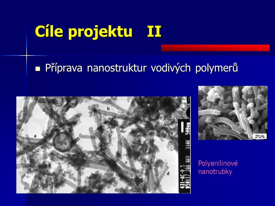 Cíle projektu III Rozvoj vodivých polymerů Rozvoj vodivých polymerů –Nové metody přípravy –Nové kombinace s jinými materiály (např.