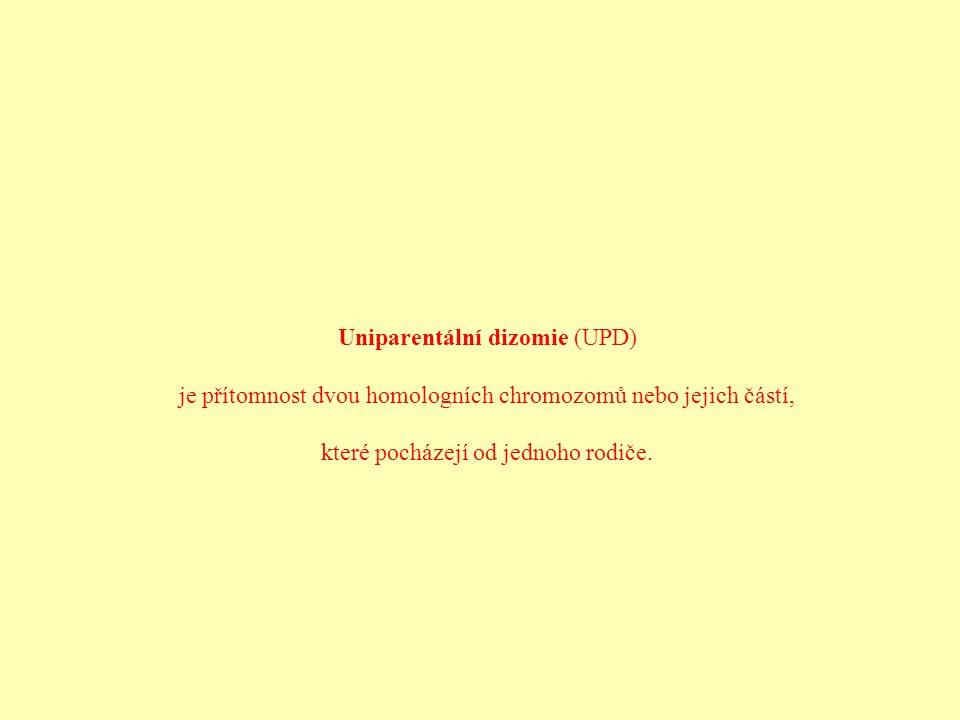 Uniparentální dizomie (UPD) je přítomnost dvou homologních chromozomů nebo jejich částí, které pocházejí od jednoho rodiče.