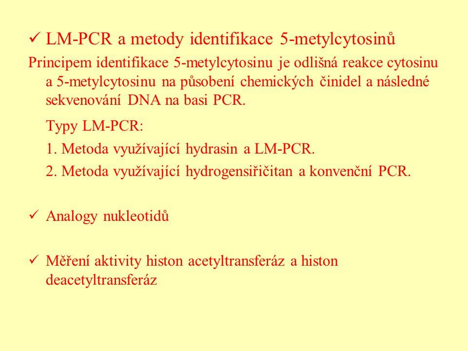 LM-PCR a metody identifikace 5-metylcytosinů Principem identifikace 5-metylcytosinu je odlišná reakce cytosinu a 5-metylcytosinu na působení chemickýc