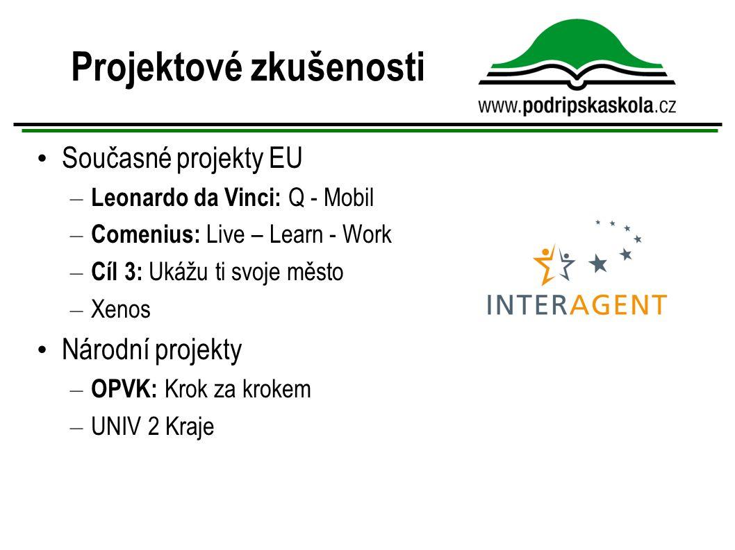 Projektové zkušenosti Současné projekty EU – Leonardo da Vinci: Q - Mobil – Comenius: Live – Learn - Work – Cíl 3: Ukážu ti svoje město – Xenos Národní projekty – OPVK: Krok za krokem – UNIV 2 Kraje