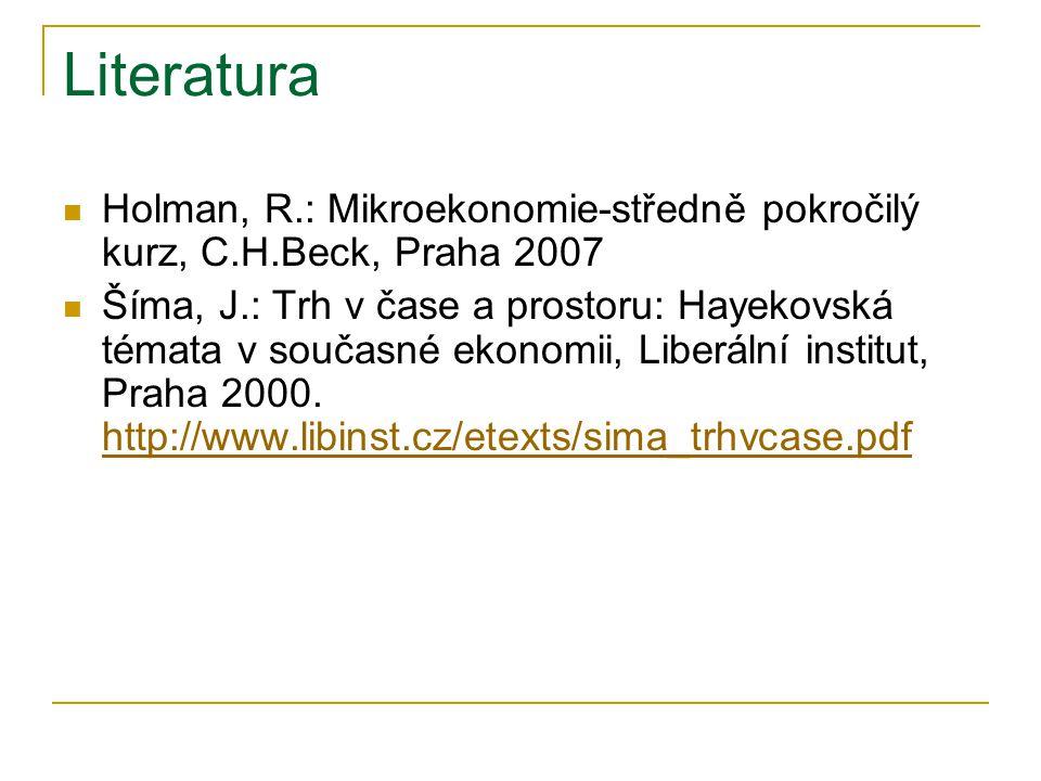 Literatura Holman, R.: Mikroekonomie-středně pokročilý kurz, C.H.Beck, Praha 2007 Šíma, J.: Trh v čase a prostoru: Hayekovská témata v současné ekonomii, Liberální institut, Praha 2000.