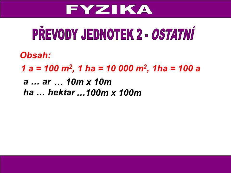 Obsah: 1 a = 100 m 2, 1 ha = 10 000 m 2, 1ha = 100 a a … ar ha … hektar … 10m x 10m …100m x 100m