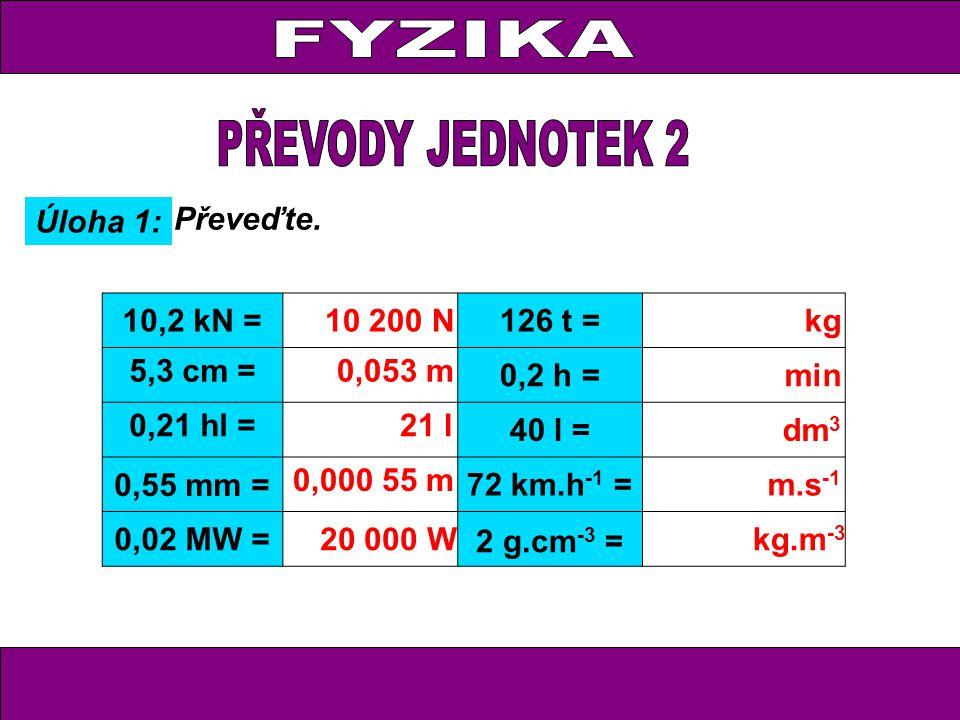 Úloha 1: Převeďte. 10,2 kN =10 200 N126 t = kg 5,3 cm =0,053 m 0,2 h = min 0,21 hl = 21 l 40 l =dm 3 0,55 mm = 0,000 55 m 72 km.h -1 = m.s -1 0,02 MW