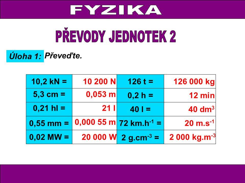 Úloha 1: Převeďte. 10,2 kN =10 200 N126 t =126 000 kg 5,3 cm =0,053 m 0,2 h =12 min 0,21 hl = 21 l 40 l =40 dm 3 0,55 mm = 0,000 55 m 72 km.h -1 = 20