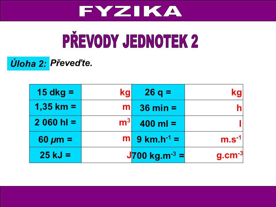 Úloha 2: Převeďte. 15 dkg =kg26 q = kg 1,35 km =m 36 min = h 2 060 hl = m 3 400 ml =l 60 µm = m 9 km.h -1 = m.s -1 25 kJ = J 700 kg.m -3 = g.cm -3
