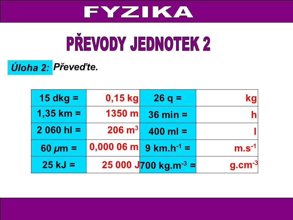 Úloha 2: Převeďte. 15 dkg =0,15 kg26 q = kg 1,35 km =1350 m 36 min = h 2 060 hl = 206 m 3 400 ml = l 60 µm = 0,000 06 m 9 km.h -1 =m.s -1 25 kJ =25 00
