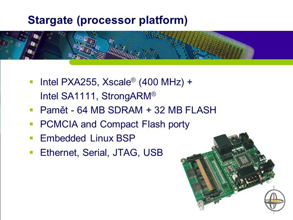 Stargate (processor platform)  Intel PXA255, Xscale ® (400 MHz) + Intel SA1111, StrongARM ®  Pamět - 64 MB SDRAM + 32 MB FLASH  PCMCIA and Compact Flash porty  Embedded Linux BSP  Ethernet, Serial, JTAG, USB