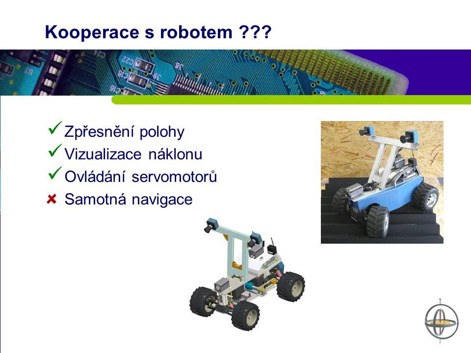Kooperace s robotem ??? Zpřesnění polohy Vizualizace náklonu Ovládání servomotorů Samotná navigace