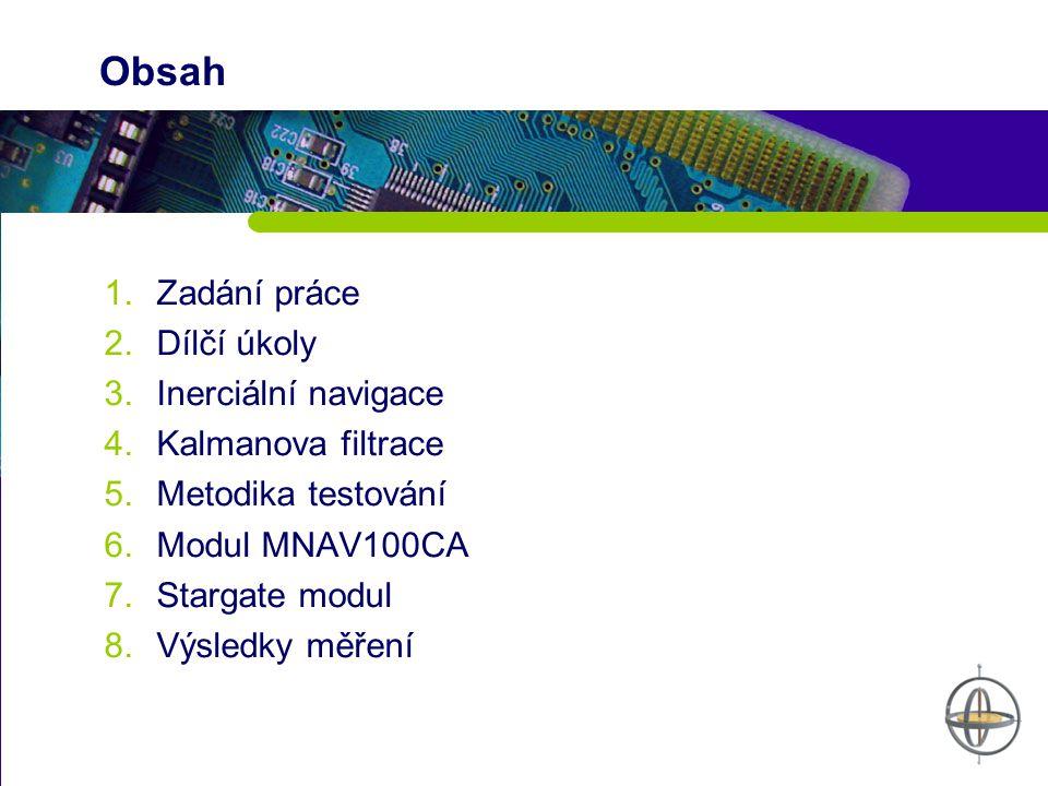 Obsah 1.Zadání práce 2.Dílčí úkoly 3.Inerciální navigace 4.Kalmanova filtrace 5.Metodika testování 6.Modul MNAV100CA 7.Stargate modul 8.Výsledky měřen