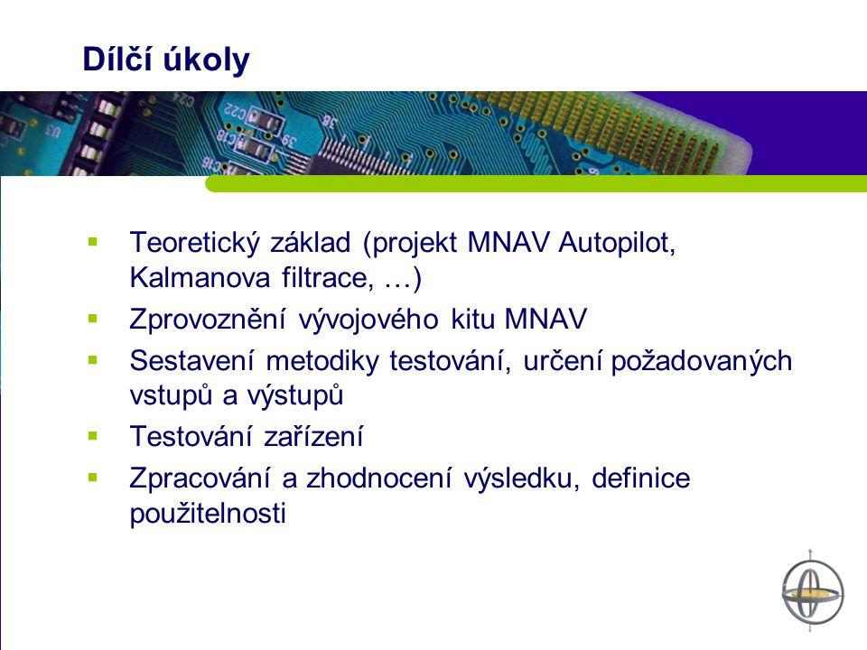 Dílčí úkoly  Teoretický základ (projekt MNAV Autopilot, Kalmanova filtrace, …)  Zprovoznění vývojového kitu MNAV  Sestavení metodiky testování, určení požadovaných vstupů a výstupů  Testování zařízení  Zpracování a zhodnocení výsledku, definice použitelnosti
