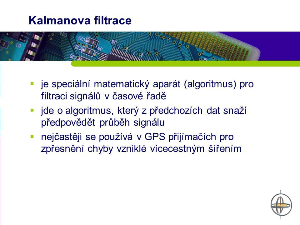 Kalmanova filtrace  je speciální matematický aparát (algoritmus) pro filtraci signálů v časové řadě  jde o algoritmus, který z předchozích dat snaží předpovědět průběh signálu  nejčastěji se používá v GPS přijímačích pro zpřesnění chyby vzniklé vícecestným šířením