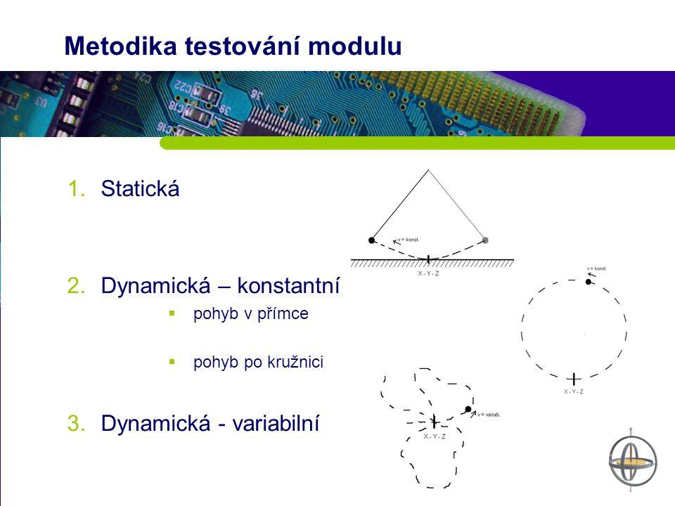 Metodika testování modulu 1.Statická 2.Dynamická – konstantní  pohyb v přímce  pohyb po kružnici 3.Dynamická - variabilní
