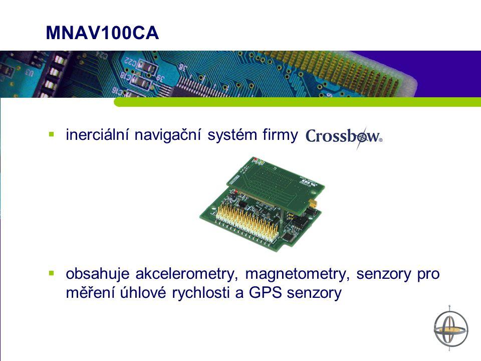 MNAV100CA  inerciální navigační systém firmy  obsahuje akcelerometry, magnetometry, senzory pro měření úhlové rychlosti a GPS senzory