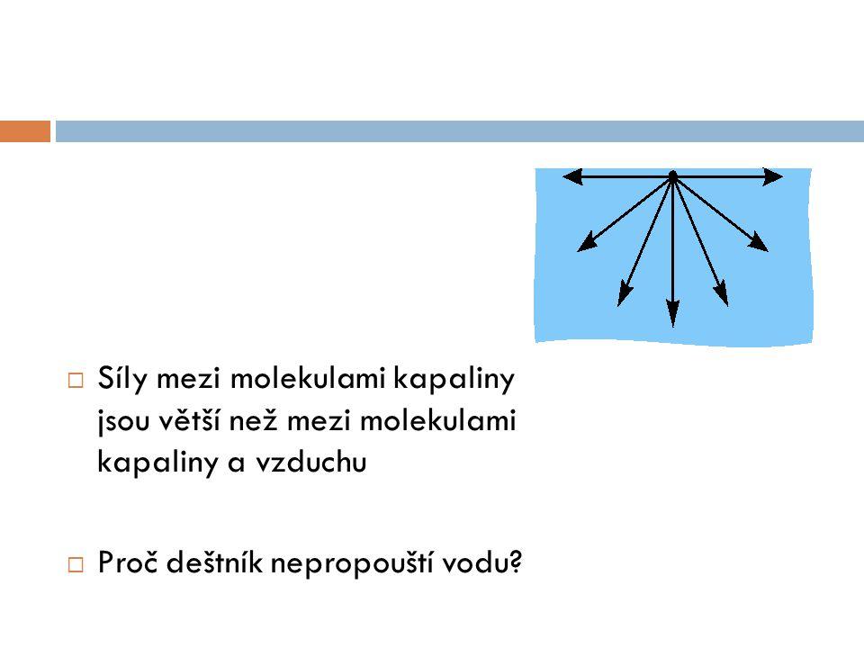  Síly mezi molekulami kapaliny jsou větší než mezi molekulami kapaliny a vzduchu  Proč deštník nepropouští vodu?