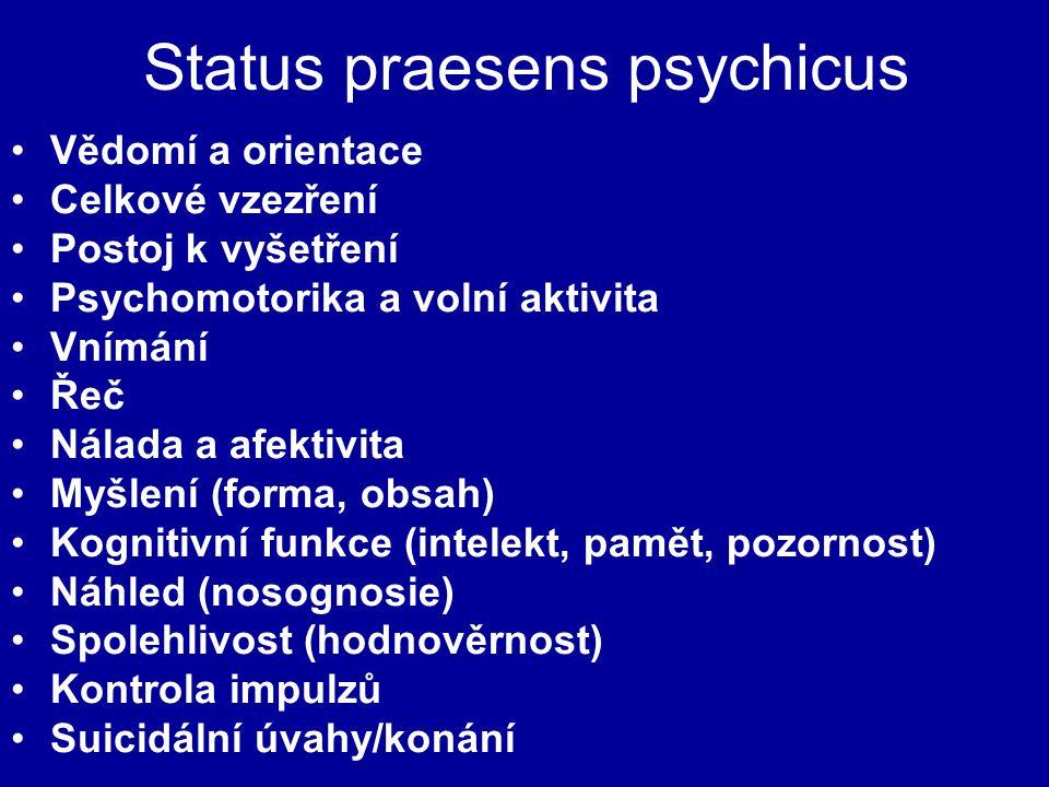 Status praesens psychicus Vědomí a orientace Celkové vzezření Postoj k vyšetření Psychomotorika a volní aktivita Vnímání Řeč Nálada a afektivita Myšle