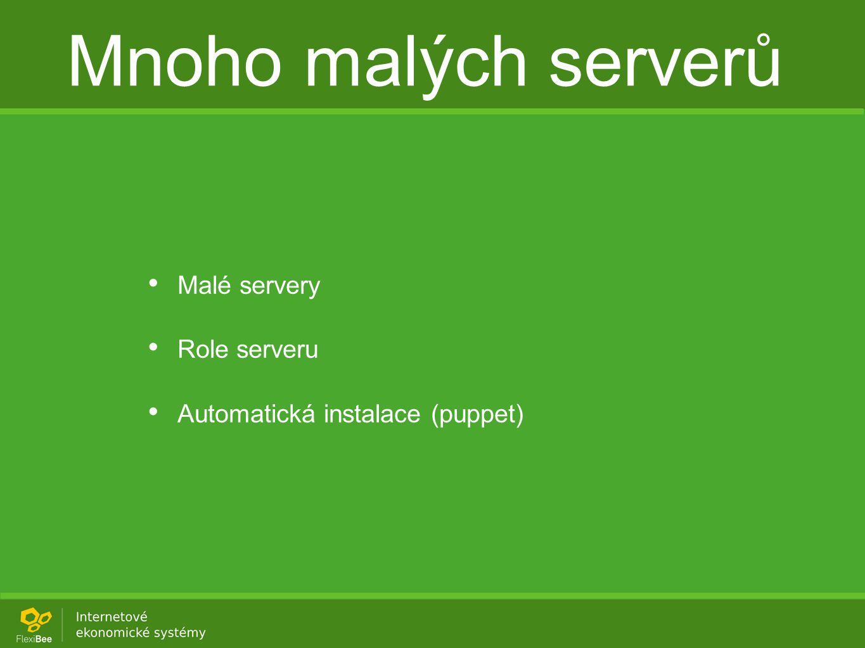 Mnoho malých serverů Malé servery Role serveru Automatická instalace (puppet)