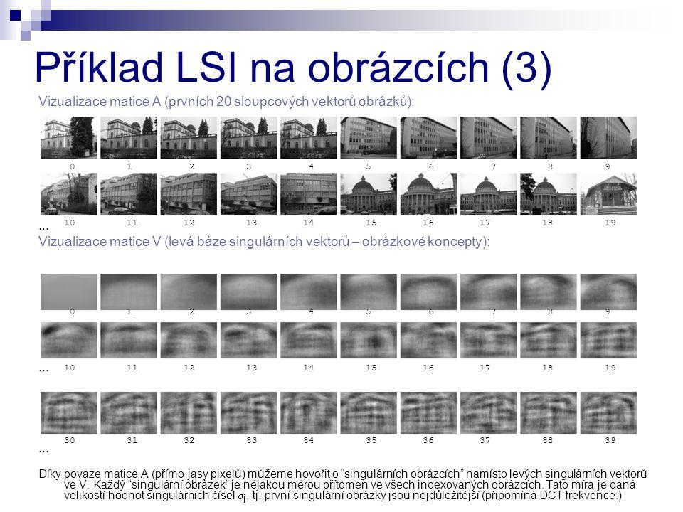 Vizualizace matice A (prvních 20 sloupcových vektorů obrázků):... Vizualizace matice V (levá báze singulárních vektorů – obrázkové koncepty):... Díky