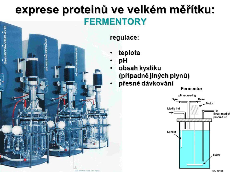 exprese proteinů ve velkém měřítku: FERMENTORY regulace: teplotateplota pHpH obsah kyslíkuobsah kyslíku (případně jiných plynů) (případně jiných plynů