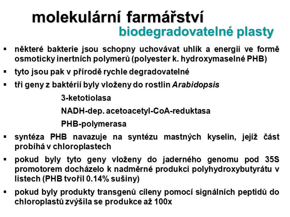  některé bakterie jsou schopny uchovávat uhlík a energii ve formě osmoticky inertních polymerů (polyester k. hydroxymaselné PHB)  tyto jsou pak v př