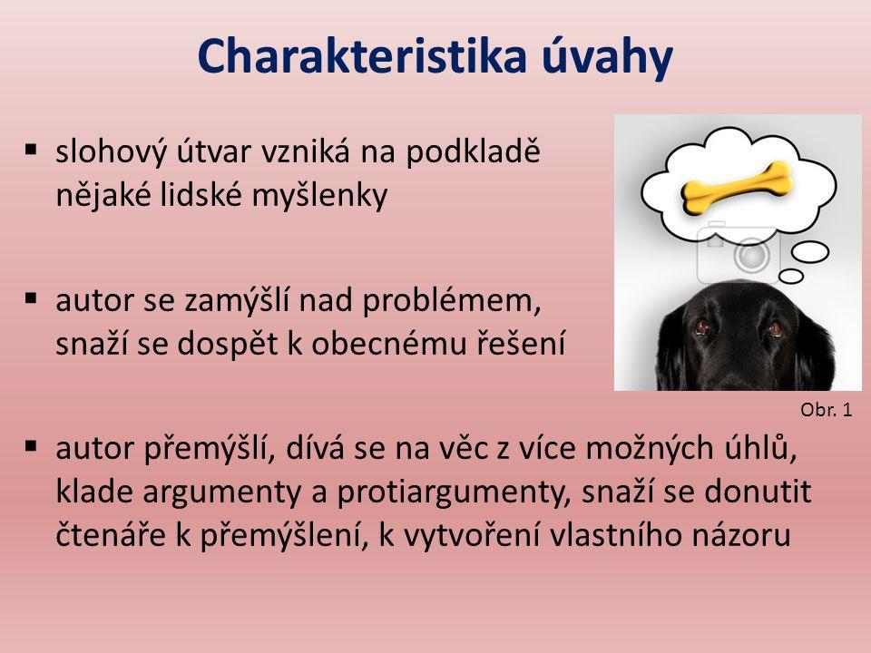 Jazyk a skladba úvahy  spisovný jazyk  často se vyskytují i řečnické otázky, hodnotící příslovce, přirovnání aj.