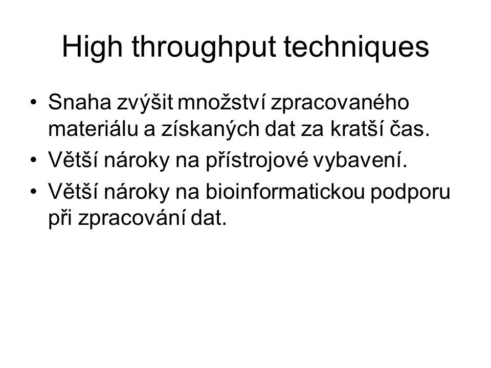 High throughput techniques Snaha zvýšit množství zpracovaného materiálu a získaných dat za kratší čas. Větší nároky na přístrojové vybavení. Větší nár