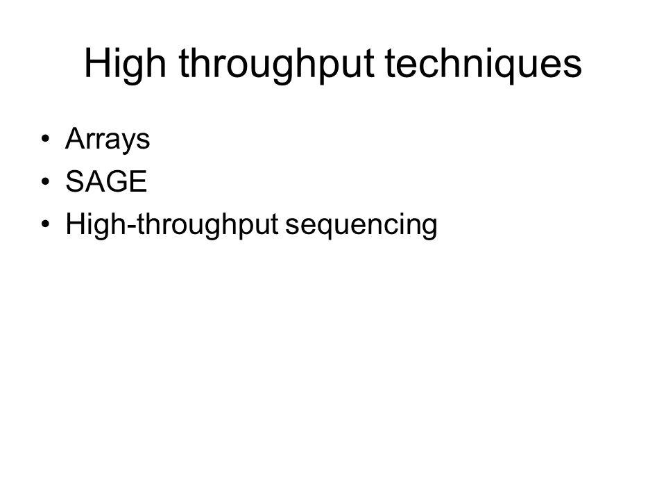 High throughput techniques Arrays SAGE High-throughput sequencing