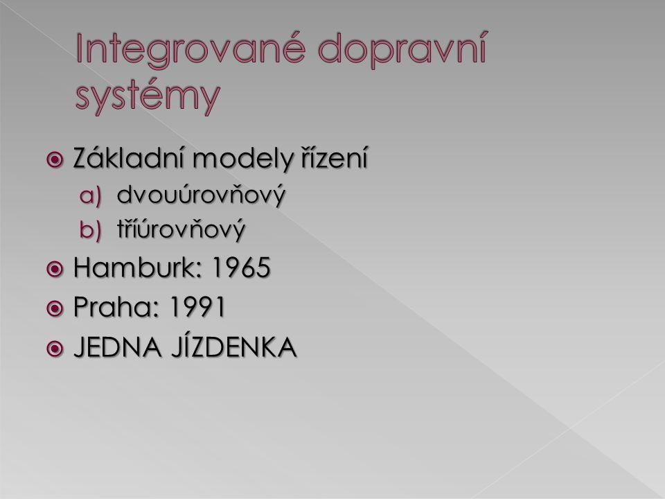  Základní modely řízení a) dvouúrovňový b) tříúrovňový  Hamburk: 1965  Praha: 1991  JEDNA JÍZDENKA