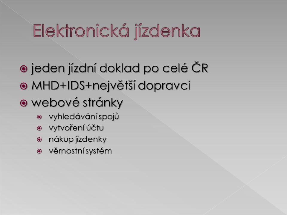  jeden jízdní doklad po celé ČR  MHD+IDS+největší dopravci  webové stránky  vyhledávání spojů  vytvoření účtu  nákup jízdenky  věrnostní systém