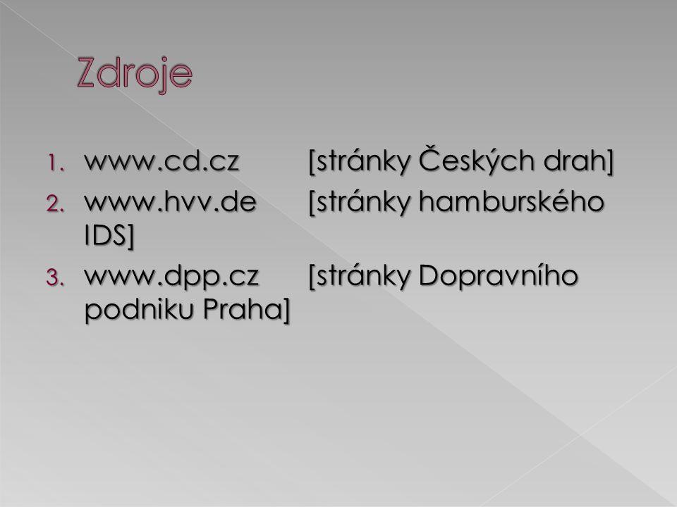 1.www.cd.cz[stránky Českých drah] 2. www.hvv.de[stránky hamburského IDS] 3.