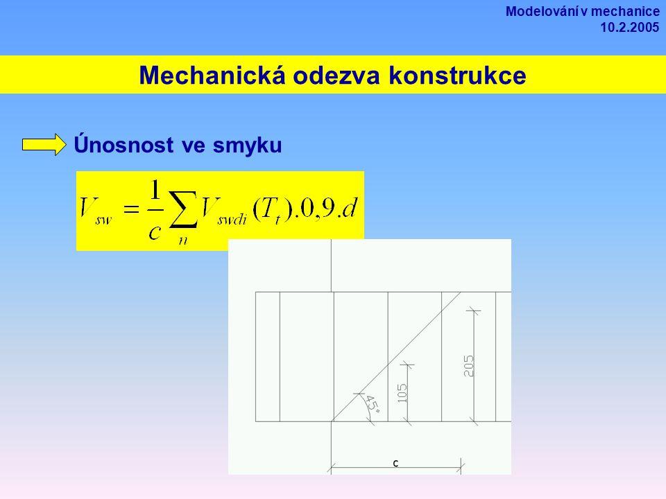 Mechanická odezva konstrukce Únosnost ve smyku Modelování v mechanice 10.2.2005