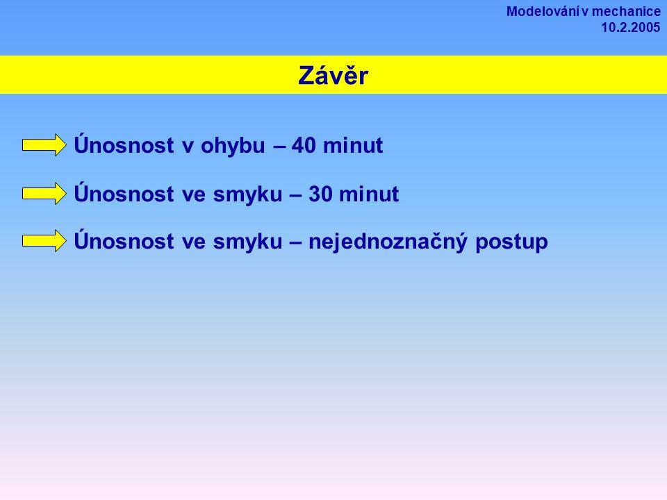 Závěr Modelování v mechanice 10.2.2005 Únosnost v ohybu – 40 minut Únosnost ve smyku – 30 minut Únosnost ve smyku – nejednoznačný postup