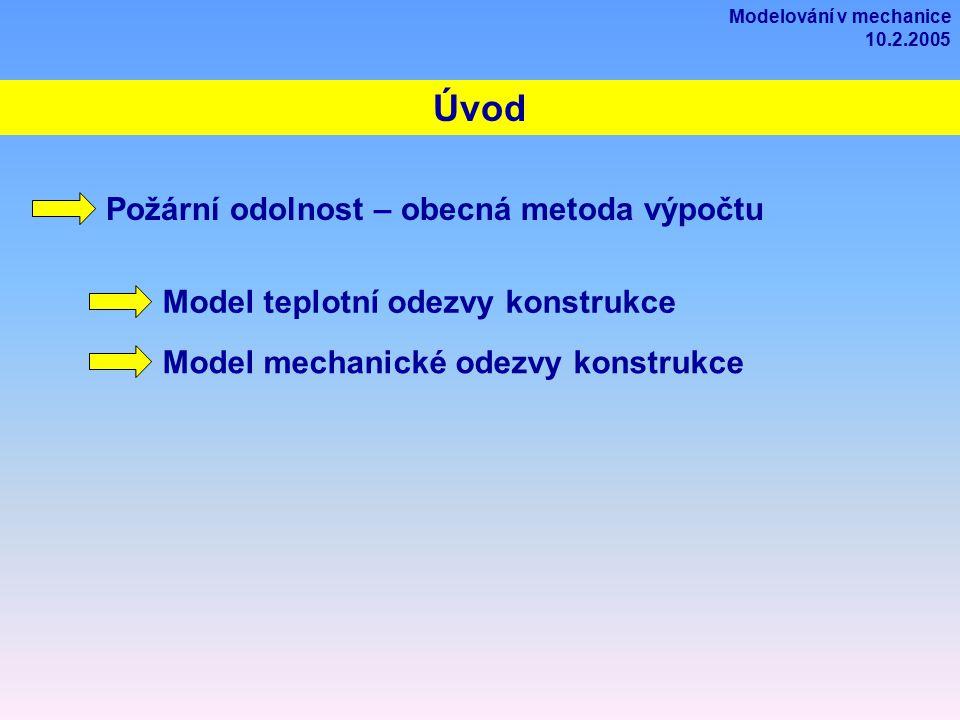 Úvod Požární odolnost – obecná metoda výpočtu Model teplotní odezvy konstrukce Model mechanické odezvy konstrukce Modelování v mechanice 10.2.2005