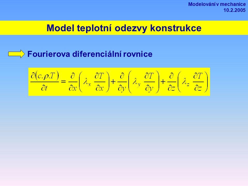 Model teplotní odezvy konstrukce Fourierova diferenciální rovnice Modelování v mechanice 10.2.2005