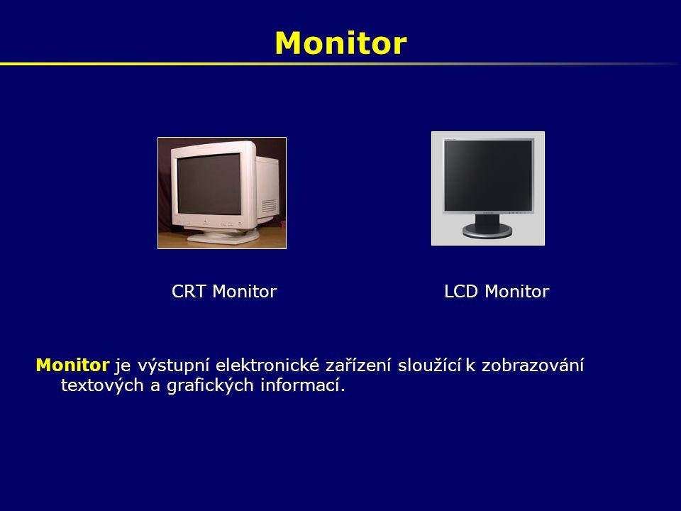 Monitor CRT MonitorLCD Monitor Monitor je výstupní elektronické zařízení sloužící k zobrazování textových a grafických informací.