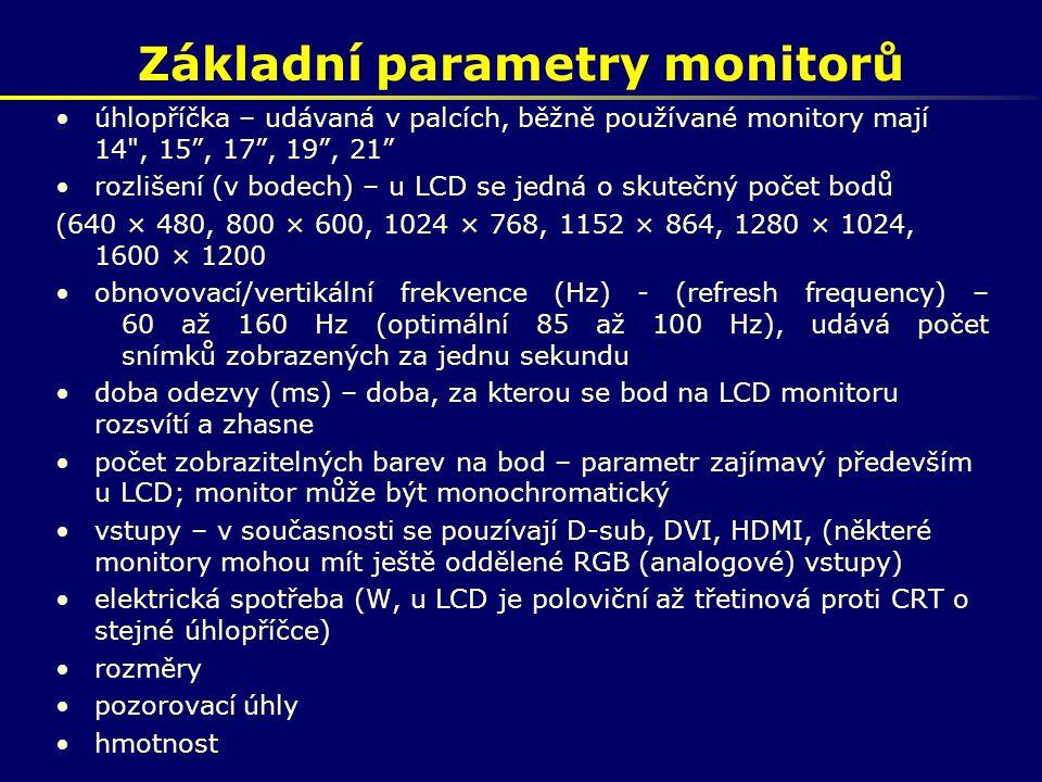 Základní parametry monitorů úhlopříčka – udávaná v palcích, běžně používané monitory mají 14
