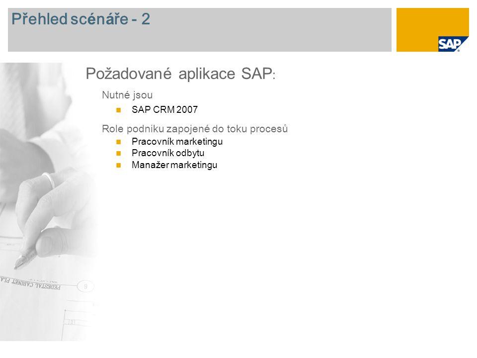 Přehled sc é n á ře - 2 Nutn é jsou SAP CRM 2007 Role podniku zapojen é do toku procesů Pracovník marketingu Pracovník odbytu Manažer marketingu Požadované aplikace SAP :