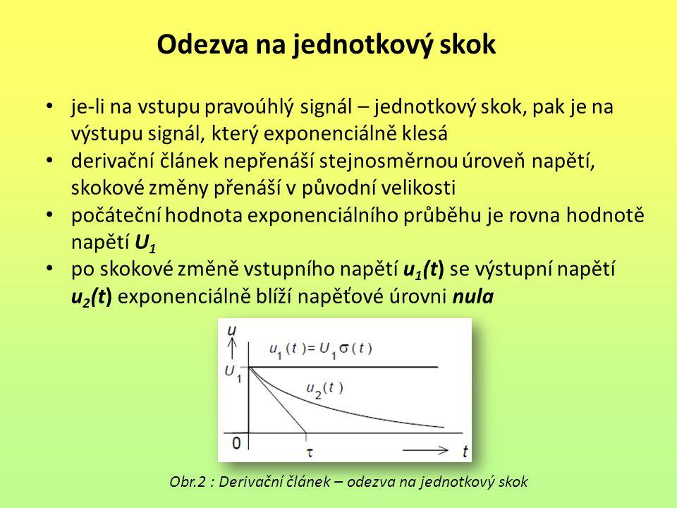 Odezva na jednotkový skok je-li na vstupu pravoúhlý signál – jednotkový skok, pak je na výstupu signál, který exponenciálně klesá derivační článek nep