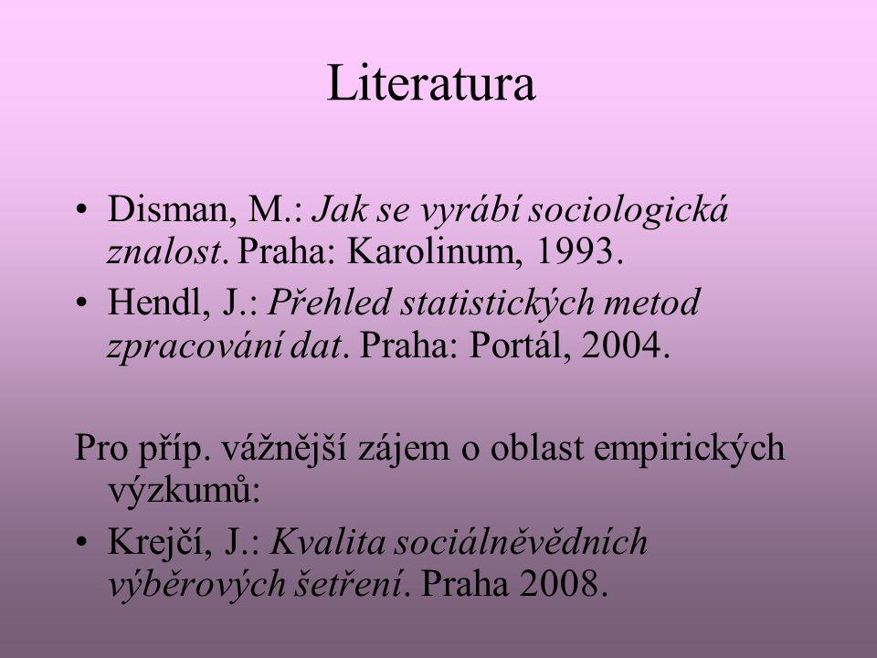 Literatura Disman, M.: Jak se vyrábí sociologická znalost. Praha: Karolinum, 1993. Hendl, J.: Přehled statistických metod zpracování dat. Praha: Portá