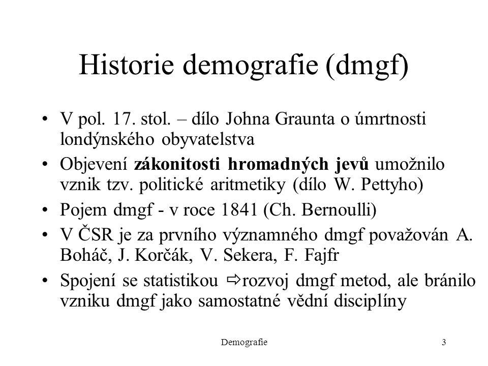 Demografie3 Historie demografie (dmgf) V pol. 17. stol. – dílo Johna Graunta o úmrtnosti londýnského obyvatelstva Objevení zákonitosti hromadných jevů