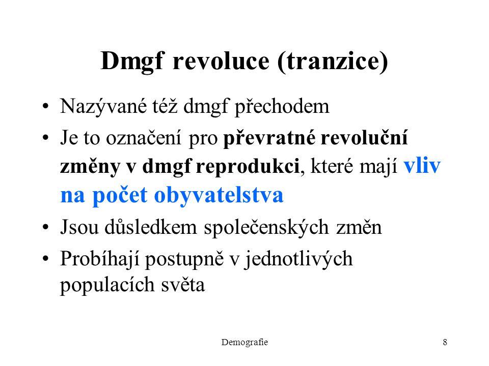 8 Dmgf revoluce (tranzice) Nazývané též dmgf přechodem Je to označení pro převratné revoluční změny v dmgf reprodukci, které mají vliv na počet obyvat