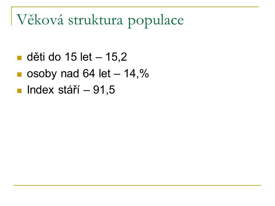 Věková struktura populace děti do 15 let – 15,2 osoby nad 64 let – 14,% Index stáří – 91,5