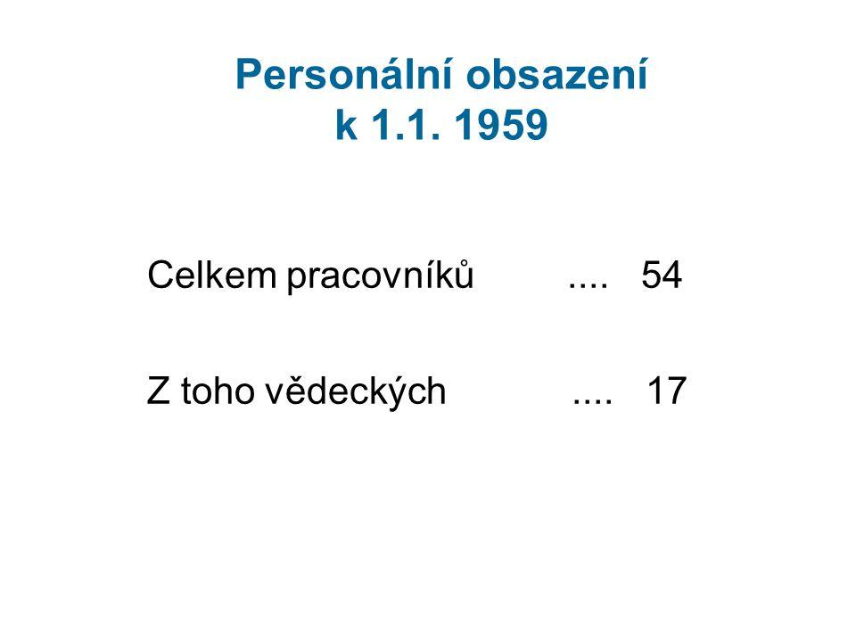 Personální obsazení k 1.1. 1959 Celkem pracovníků.... 54 Z toho vědeckých.... 17